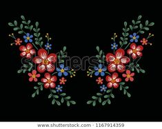 flower embroidery pattern - bu vektörü Shutterstock'ta satın alın ve başka görseller bulun. Embroidery Patterns, Floral Wreath, Wreaths, Flowers, Image, Decor, Needlepoint Patterns, Floral Crown, Decoration
