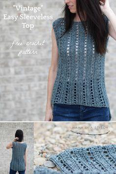 Crochet Blouse Pattern Vintage Easy Crochet Sleeveless Top Pattern Mama In A Stitch Crochet Summer Tops, Easy Crochet, Crochet Tops, Crochet Granny, Crochet Poncho Patterns, Crochet Edgings, Shawl Patterns, Crochet Motif, Stitch Patterns