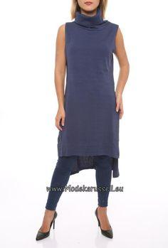 Knielanger Damen Rollkragen Pullover Jette Blau