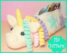 PDF  Unicorn Crochet Pattern Pencil Case Unicorn Pencil