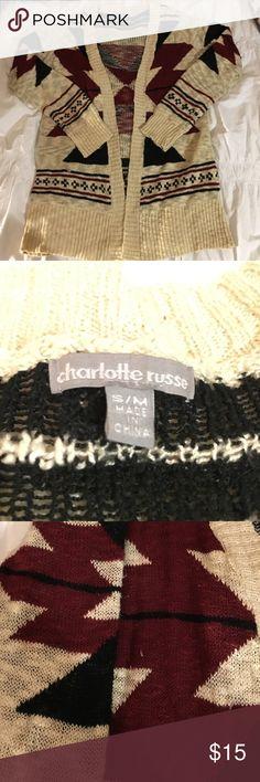 Long Charlotte Russe Cardigan Maroon, Black, Tan cardigan from Charlotte Russe Charlotte Russe Sweaters