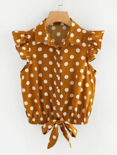 SheIn offers Knot Front Polka Dot Top & more to fit your fashionable needs. Outfits For Teens, Casual Outfits, Cute Outfits, Fashion Outfits, Polka Dot Blouse, Baby Dress, Blouse Designs, Blouses For Women, Ideias Fashion
