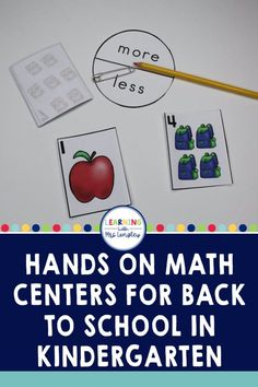 These back to school math centers for kindergarten have easy set up and will last you all month long. Easy organization will work with a rotation chart, math tubs, centers, or just as small group activities. These are easy to use and focus on beginning kindergarten math skills. Beginning Of Kindergarten, Kindergarten Math, Small Group Activities, Hands On Activities, First Grade Classroom, Primary Classroom, Math Stations, Math Centers, Math Lessons