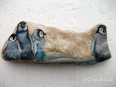 Penguin Chicks Inspired Stone by ArtRocks by Karen Fuhr, via Flickr