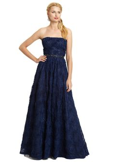 Adriana Papell - Navy Strapless Blue Tulle