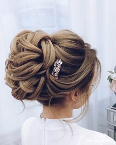 Elstiles long wedding updo hairstyles for bride #weddinghairstyles
