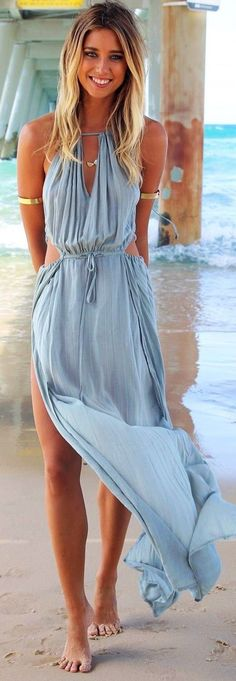 Blue Plain Ruffle Cut Out Side Slits Maxi Dress