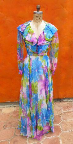 Pretty & Feminine 60s 70s Floral Flouncy Maxi by SweetPickinsShop, $62.00  Dress