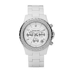 Product: Michael Kors® Ladies Stainless Steel And White Acetate