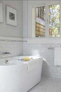 Bathroom. Subway Tile in Bathroom. Love this clean look! #Bathroom #Interiors