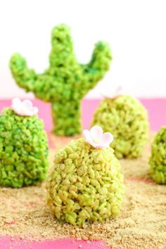 It's Friday! What better way to celebrate than by making up a batch of cactus Rice Krispie treats? My kids loved helping me make these...