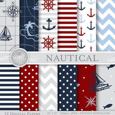 "NAUTICAL Digital Paper BLUE & RED Seamless Pattern Prints, Instant Download, 12"" x 12"" Paper Pack Sailboat Boy Patterns Scrapbook Print"