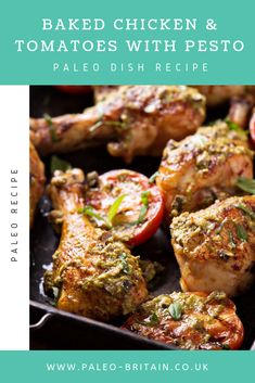 Baked Chicken & Tomatoes with Pesto  #Paleo #food #recipe #keto #diet #BakedChicken&TomatoeswithPesto
