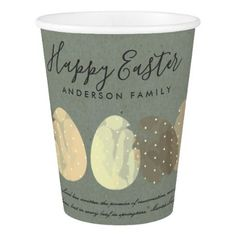 Modern colorful watercolor easter eggs monogram paper cup modern zen grey watercolor easter eggs personalize paper cup elegant gifts gift ideas custom presents negle Choice Image