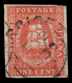 British Guiana 8 (11) 1853-59 1¢ vermilion Seal of the Colony, original ptg (without line above value), imperf, four margins