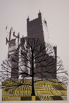 Cathy King ~ Exeter Cathedral - South Tower, 2012 (4 block linocut and screenprint)