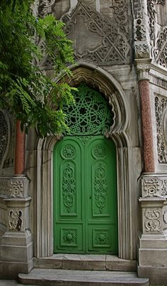 Amazing green church door. - Istanbul, Turkey
