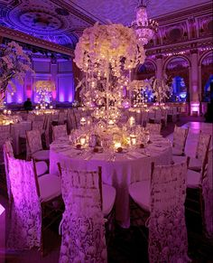 I LOVE all of the lighting and the centerpiece, but it needs some dark purple or dark red and black.