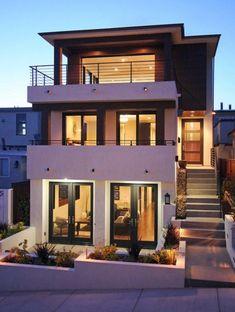 Frentes de casas con escaleras