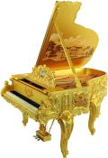 "Steinway Art Case Piano – ""Doheny"":  Covered in 22 karat gold, the opulent Doheny bears true testament to Steinway's consistent excellence in executing the most extraordinary of all designs, past or present."