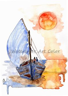 Boat Painting - Watercolor Art Prints - Title Greece in Summer - Wall Decor - Blue Sea - Housewarming - Romantic Art - Valentine's Day Gift