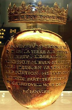 1514 MEDIA	solid gold, and gold philigree work SIZE	N/A LOCATION	France - Nantes - The Castle Museum NOTES	Anne of Brittany failed to survive the winter of 1513-1514, dying of a kidney-stone attack at the Chateau of Blois. She was buried in the necropolis of Saint Denis. Her funeral was of exceptional length, lasting 40 days, and inspiring all future French royal funerals until the 18th century.