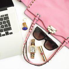Valentino Rockstud bag  Celine sunglasses   pic via: www.fashionhippieloves.com