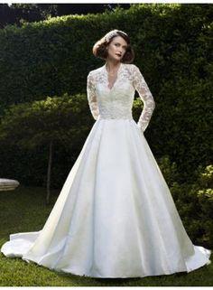 USD 175.35 - 2012 Long Sleeve V-neck Lace Satin A-line Gown Floor ·  Casablanca Bridal ... 90e04a361a89