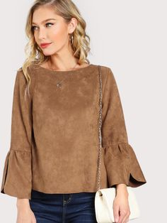 Online shopping for Split Flounce Sleeve Suede Blouse from a great selection of women's fashion clothing & more at MakeMeChic. Ruffle Collar Blouse, Ruffle Blouse, Ruffle Sleeve, Flutter Sleeve Top, Blouse And Skirt, Fashion Outfits, Women's Fashion, Clothes, Ruffle Top
