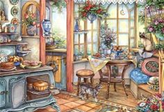 Kim Jacobs has been a professional illustrator for over 30 years. Her art is featured prominently in numerous greeting cards, calendars, toys, fine art prints, and