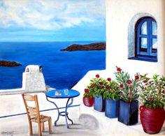 TERRAZA GRIEGA Acrylic paint on canvas FOR SALE