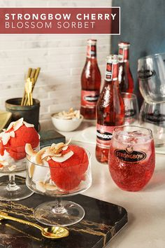 Satisfy your sweet tooth with this easy & fresh Strongbow Cherry Blossom Hard Cider sorbet recipe. This adults-only summer treat is gluten free, and also makes for a great addition to your backyard BBQ or picnic. And for the proverbial cherry on top, pair this with a chilled Strongbow Cherry Blossom over ice. Fun Drinks, Yummy Drinks, Yummy Food, Alcoholic Beverages, Cocktails, Cocktail Parties, Refreshing Drinks, Party Drinks, Party Party