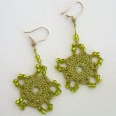 If this was done in white yarn with silver glass beads, then it would look like pretty snowflakes!