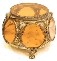 ANTIQUE ORMOLU BEVELED GLASS, JEWELRY BOX CASKET