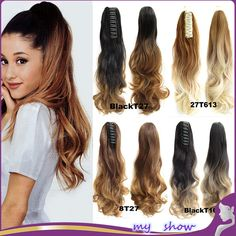 """24"""" Natural Curly Clip On Hair Extensions Claw PonyTail Synthetic Hairpiece Long Wavy Ombre Color Two Tone False Hair Tails"""