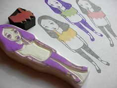 Hand carved rubber stamp 3/16	  by DearYouFromKozue