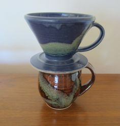 Drip coffee maker / handmade / pottery / blue / coffee cone / single serving / pour over / ready to ship