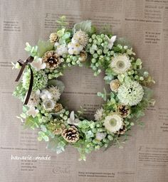 ハンドメイドマーケット minne(ミンネ)| green berry & helichrysum:wreath