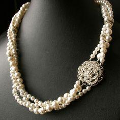 Rose: Vintage Style Wedding Bridal Necklace,Twisted Pearl Bridal Jewelry Necklace, Ivory Bridal White Pearls, Rhinestone Flower.