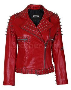 Customized Women's Red Brando Belted Leather Jacket Silver Spike Red Studded Leather Jacket Brando – Best Home Decor Spiked Leather Jacket, Studded Jacket, Red Leather Jackets, Custom Leather Jackets, Red Fashion, Fashion Men, Grunge Fashion, Fashion 2017, High Fashion