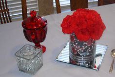 "Casino Chips centerpiece and ""Dice"" votives for a casino party."