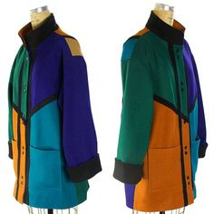 80s Color Block Wool Blazer / Vintage 1980s Avant Garde Punk