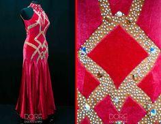 Red Velvet Smooth with Nude Diamond Design