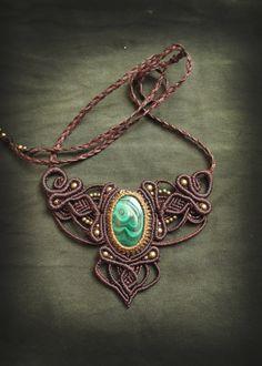 Steampunk Victorian Spiral. Handmade macrame necklace with malachite. Macrame Jewelry fiber art. Vintage. Bohemian. Tribal.