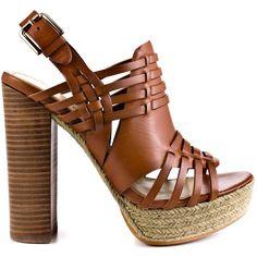 Luxury Rebel Women's Judy - Cuoio featuring polyvore, fashion, shoes, sandals, orange, high heel sandals, espadrille sandals, strappy sandals, platform sandals and strappy platform sandals
