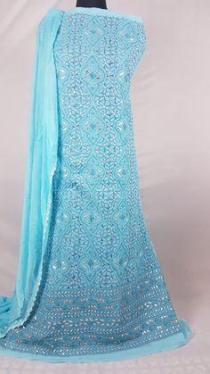 Mesmerizing blue Chikankari fabric in dense gotta patti with hand needle work Kurta Designs, Punjabi Suits, Designer Wear, Indian Wear, Cotton Dresses, Embroidery, Clothes For Women, Fabric, Clothing