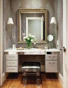 hollywood dressing table with two lamps