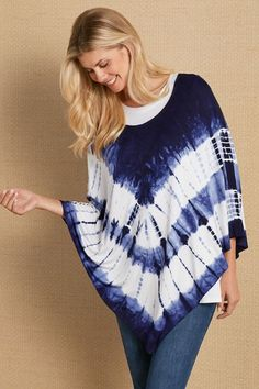 Two retro trends in one fun piece! Our Trina Tie Dye Poncho is super soft and a punchy alternative top layer. Try layering it with your favorite tank or tee. Because each poncho is hand-dyed, each piece has it's very own look. It's lightweight makes it a wonderful piece to wear through summer and right into early fall.