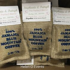 So cute. Love these. Personalized Jamaican 100% Blue Mountain Coffee in Burlap Bags are great as wedding favors for your great you have travelled near and far.   #destinationweddings #welcomebags #welcomebaskets #helengevents #jamaica #jamaicanmade #jamaicanproducts #brandjamaica #madeinjamaica #weddingsinjamaica #jamaicaweddings #jamaicanweddingsfavors #jamaicawelcomebags #bluemountaincoffee #rum #jerksauce #personalized #favors #bananachips #chippies #tambrindballs #burlap #coffee…