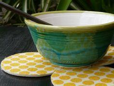 Bowl de cerámica. Posa-vaso de fieltro estampado con tintas al agua. (Obra Inspiración Sustentable)